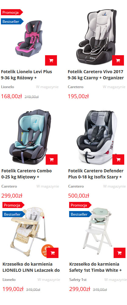 Foteliki samochodowe - sklep 4toys.pl