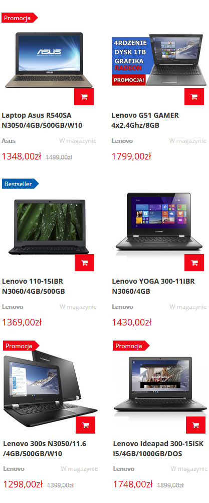 Tanie laptopy i notebooki Lenovo, Asus, Dell